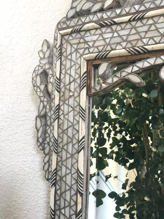 Late 19th Century Moroccan Bone Inlaid Mirror For Sale 5