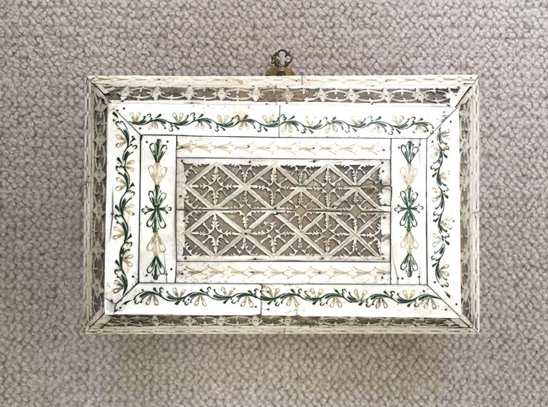 Etched Early 19th Century Russian Stained and Carved Bone Table Casket For Sale