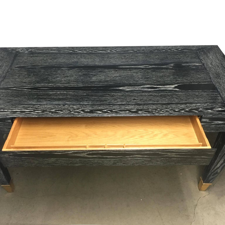Art Deco John Hutton Designed Parisian One-Drawer Desk in Cerused Ebonized Finish For Sale