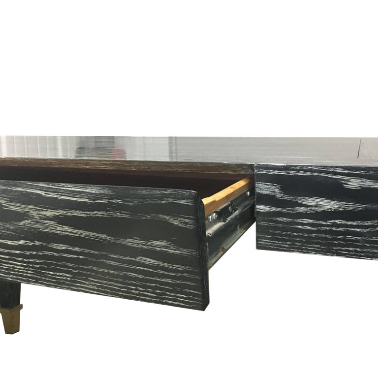 John Hutton Designed Parisian One-Drawer Desk in Cerused Ebonized Finish In Good Condition For Sale In San Francisco, CA