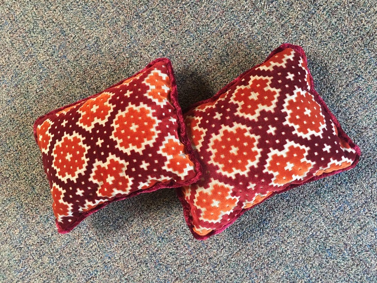 Custom-made 80-20 feather down pair of small throw or accent pillows in a woven fabric with a contrast cut velvet geometric pattern and 0.5