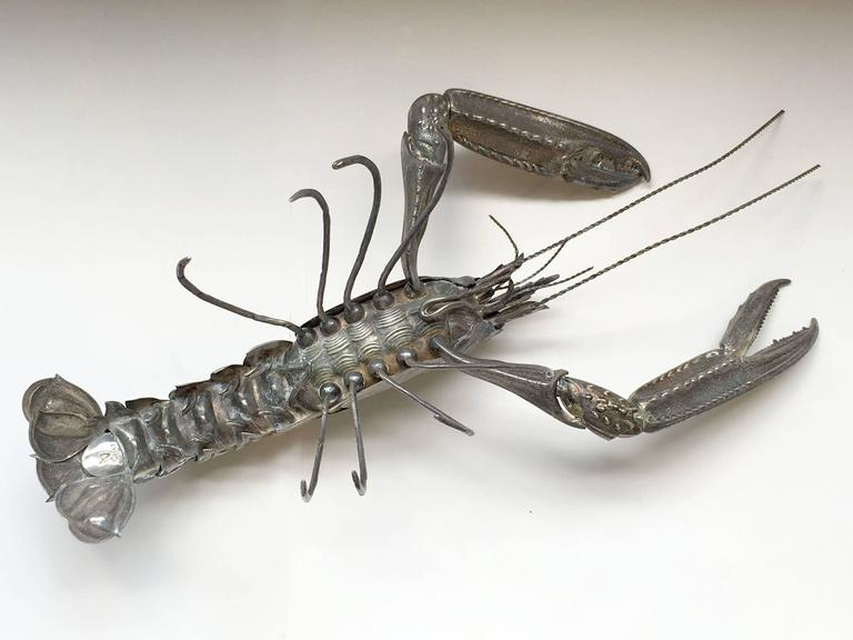 Mid-Century Sterling Sculpture of a Tiger Prawn 6