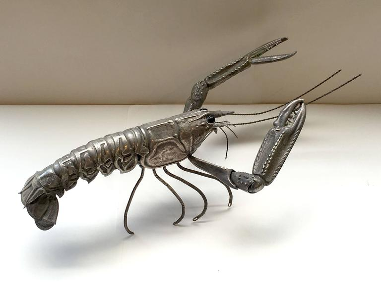 Mid-Century Sterling Sculpture of a Tiger Prawn 7