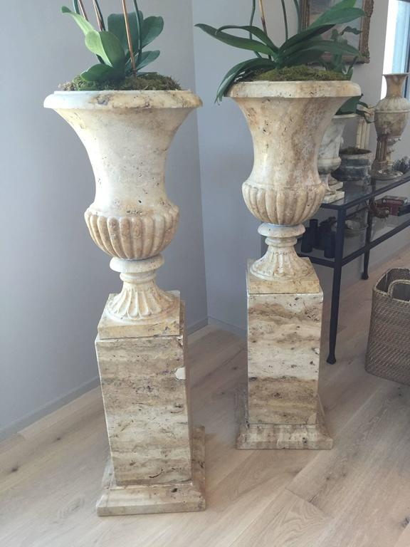 Pair of 19th Century Italian Solid Handcarved Limestone Classic Urns  4