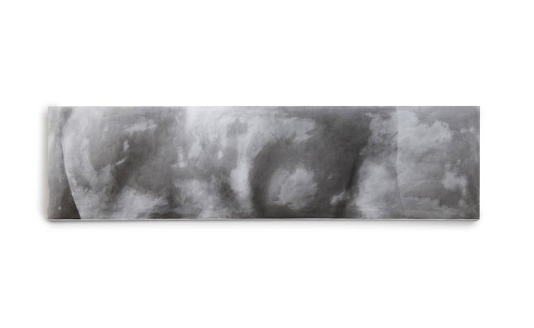 """Series of 2 contemporary monochromatic nude abstract paintings by Elena Dendiberia, featuring a male back in grey hues. It is acrylic on stretched muslin,  61"""" x 16"""" each, 2015  Elena Dendiberia is a Russian artist, currently based in"""
