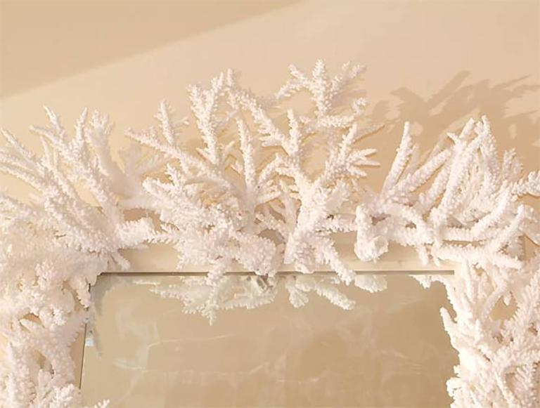 Contemporary Rare Candace Barnes Designed Antiqued Coral Mirror For Sale