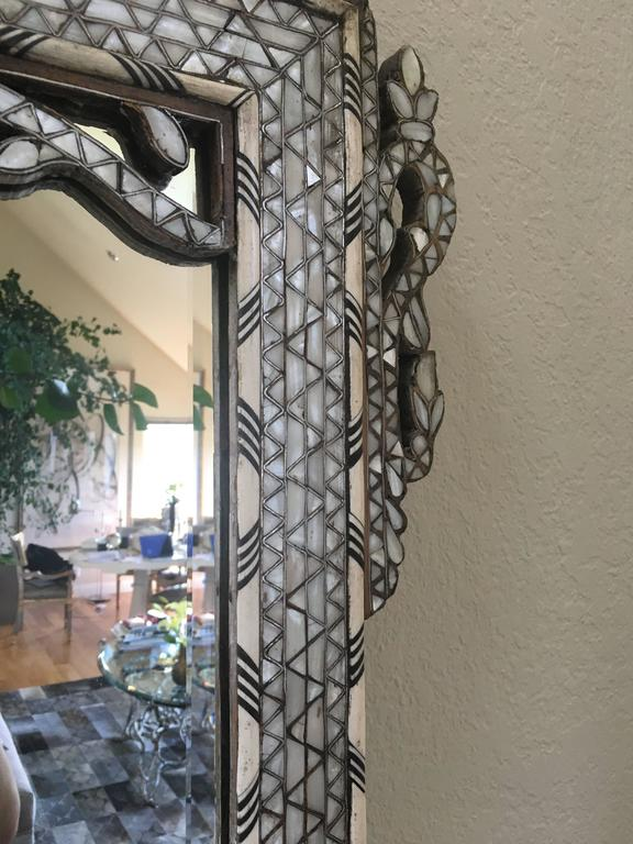 Late 19th Century Moroccan Bone Inlaid Mirror In Good Condition For Sale In San Francisco, CA