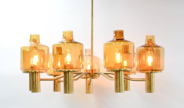 Hans-Agne Jakobsson Nine-Arm Brass Chandelier with Amber Glass 2