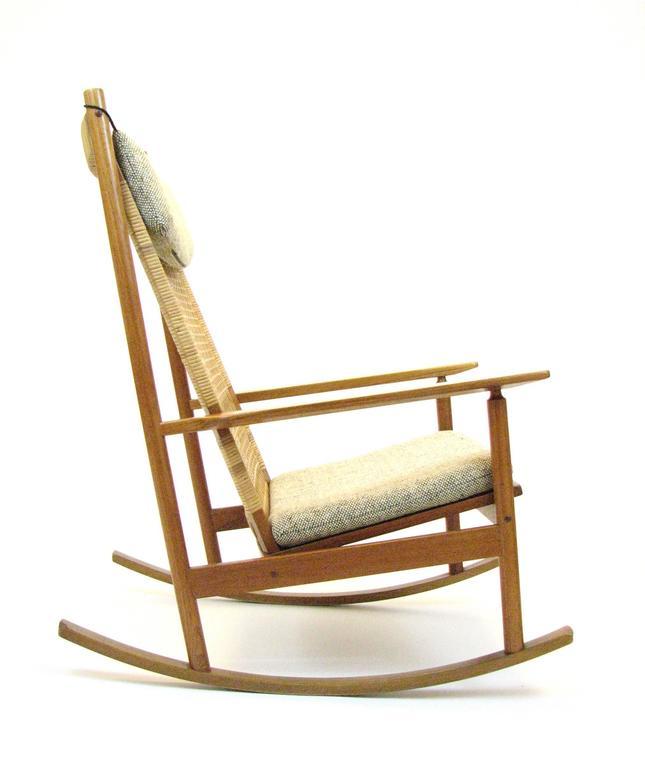 Danish Teak and Cane Rocking Chair by Hans Olsen for Brdr Juul-Kristensen 2