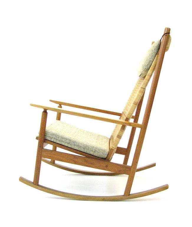 Danish Teak and Cane Rocking Chair by Hans Olsen for Brdr Juul-Kristensen 4