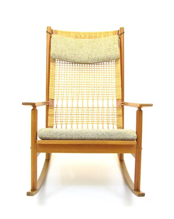 Danish Teak And Cane Rocking Chair By Hans Olsen For Brdr Juul Kristensen  In Good