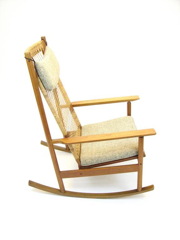 Danish Teak and Cane Rocking Chair by Hans Olsen for Brdr Juul-Kristensen 6