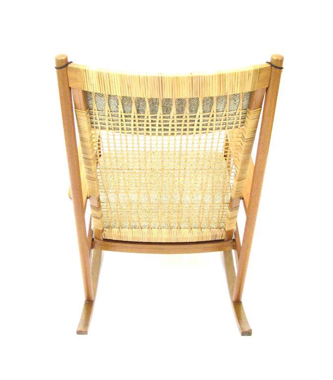 Danish Teak and Cane Rocking Chair by Hans Olsen for Brdr Juul-Kristensen 9