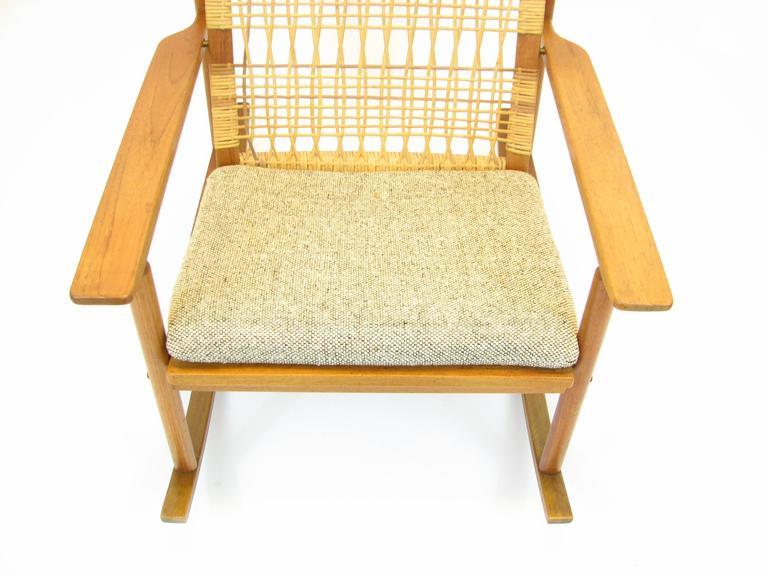 Danish Teak and Cane Rocking Chair by Hans Olsen for Brdr Juul-Kristensen 7