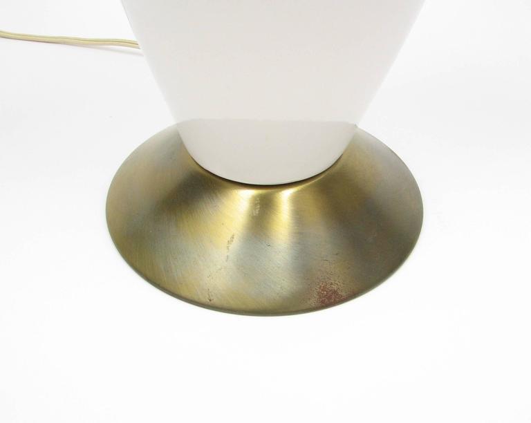 Brass Pair of Mid-Century Ceramic Lamps For Sale