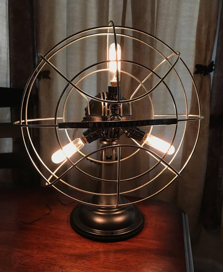 Steampunk Westinghouse Catalog No. 12 LA 4 Fan Lamp For Sale