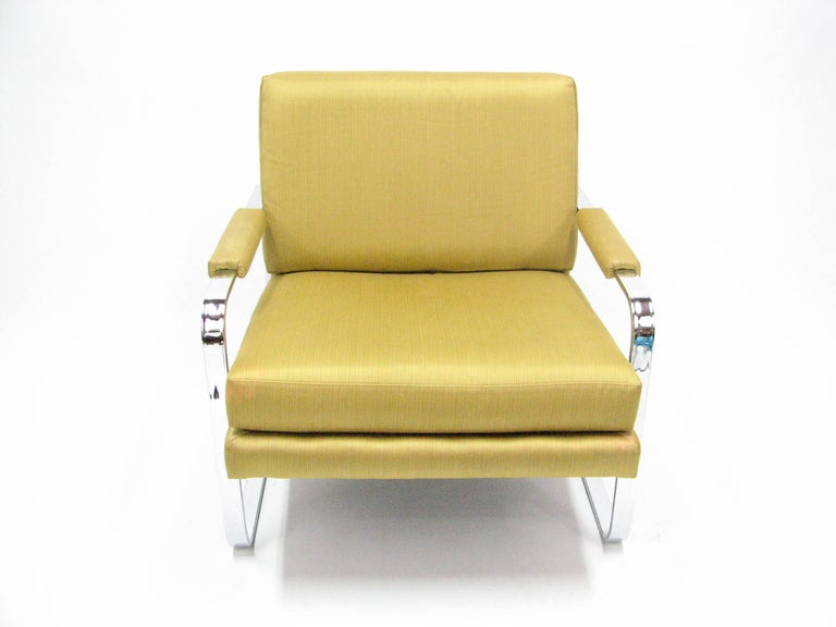 Flat Bar Chromed Steel and Silk Lounge Chair in the manner of Milo Baughman 2