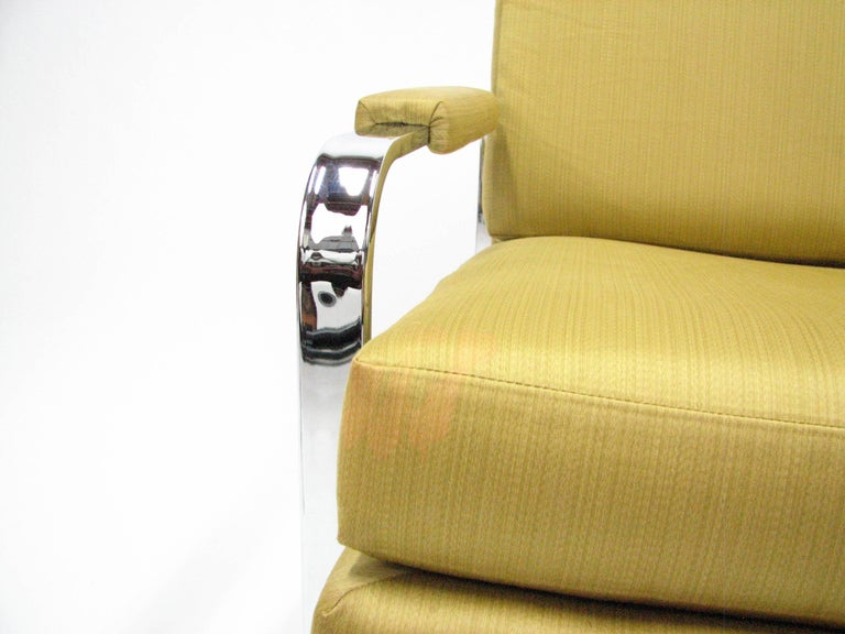 Flat Bar Chromed Steel and Silk Lounge Chair in the manner of Milo Baughman 10