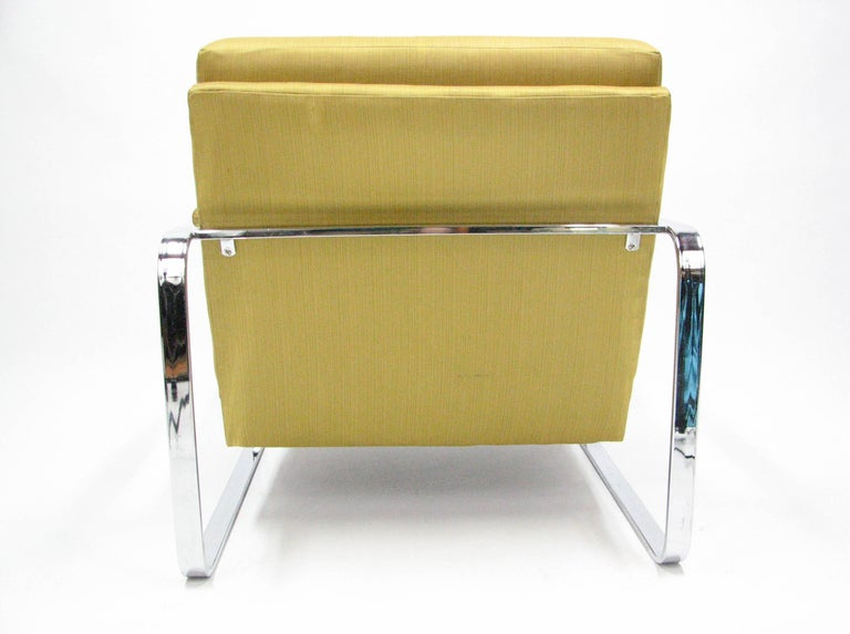 Flat Bar Chromed Steel and Silk Lounge Chair in the manner of Milo Baughman For Sale 1