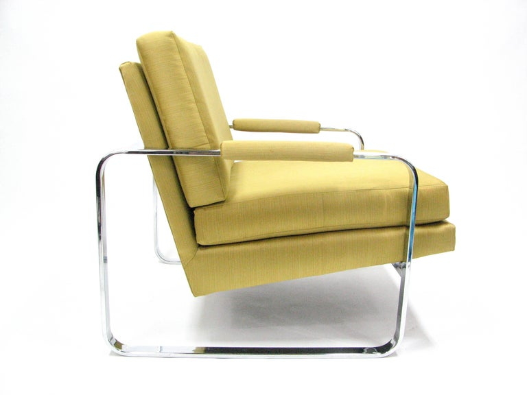 Flat Bar Chromed Steel and Silk Lounge Chair in the manner of Milo Baughman 3
