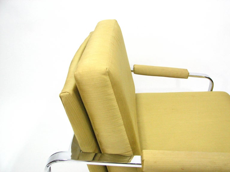 Flat Bar Chromed Steel and Silk Lounge Chair in the manner of Milo Baughman 5