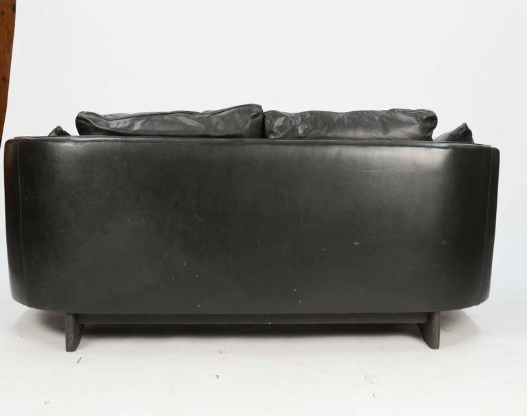 Hans Olsen Loveseat in Distressed Leather with a Curved Surround Back 4