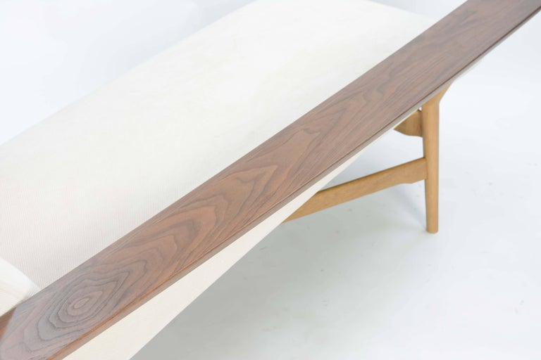 Tateishi Shoiji Chaise Lounge in Oak and Walnut In Excellent Condition For Sale In Portland, OR