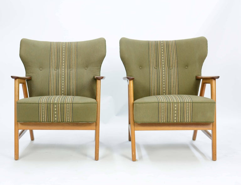Pair of Kurt Olsen 3/5 Wingback Club Chairs in Teak 2