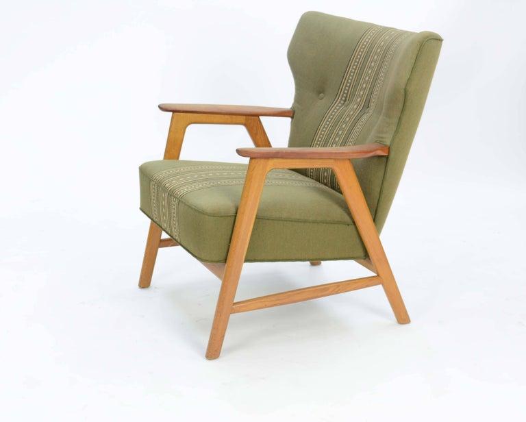 Pair of Kurt Olsen 3/5 Wingback Club Chairs in Teak 3