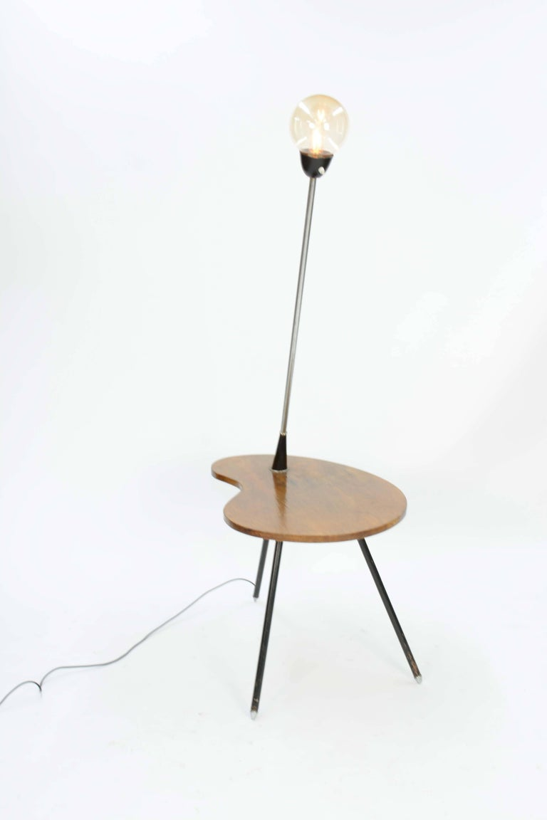 Danish Extraordinary Cocktail Table Floor Lamp with Walnut Biomorphic, Tabletop For Sale