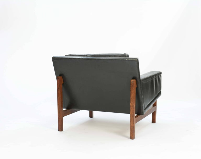 Danish Pair of Distressed Leather Club Chairs with Rosewood Frames by Sven Ellekaer For Sale