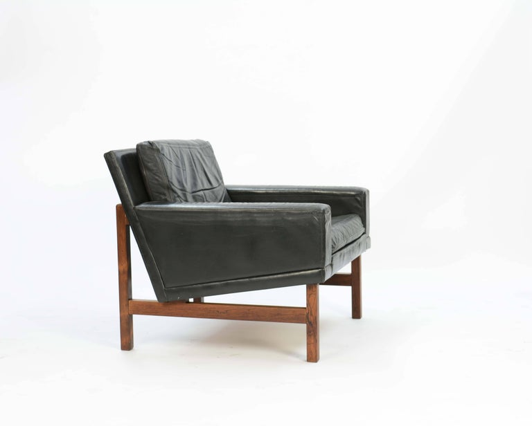 Scandinavian Modern Pair of Distressed Leather Club Chairs with Rosewood Frames by Sven Ellekaer For Sale