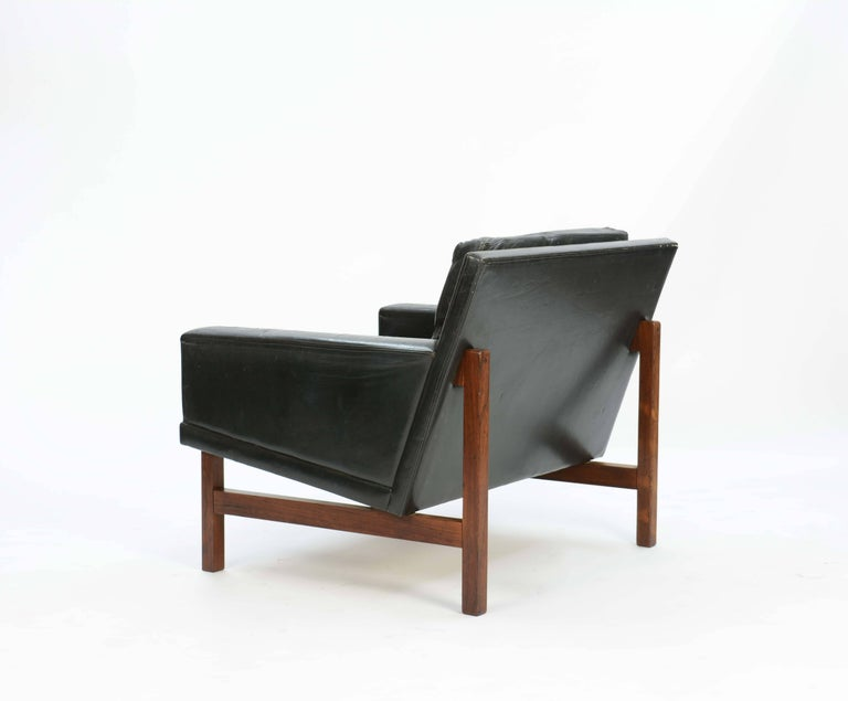 Pair of Distressed Leather Club Chairs with Rosewood Frames by Sven Ellekaer In Good Condition For Sale In Portland, OR