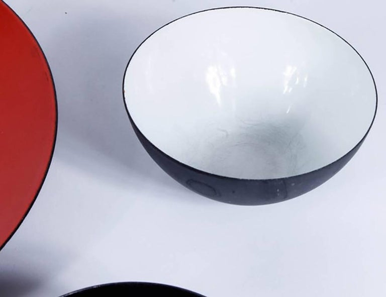 Enameled Mid-Century Krenit Bowls and Serving Dish Attributed to Herbert Krenchel For Sale