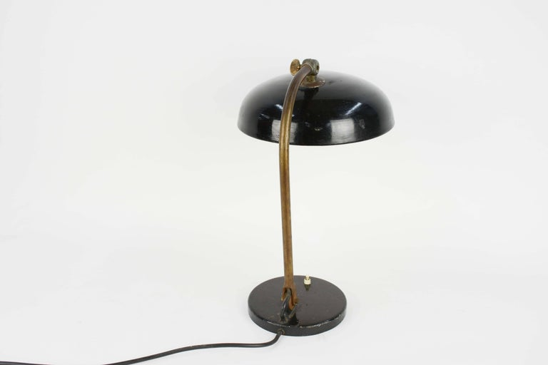 1920s Finely Tooled German Industrial Desk Lamp with Directional Shade 2