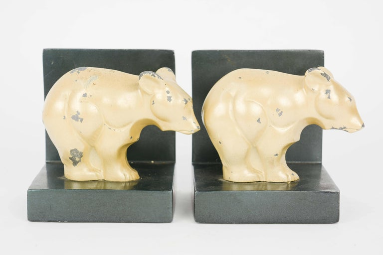 Bauhaus and Early Modernist Abstract Bear Bookends In Fair Condition For Sale In Portland, OR