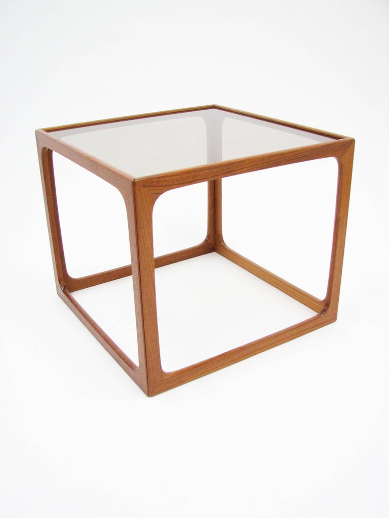 Pair of Teak and Smoked Glass Tables in the Manner of Poul Hundevad In Good Condition For Sale In Portland, OR