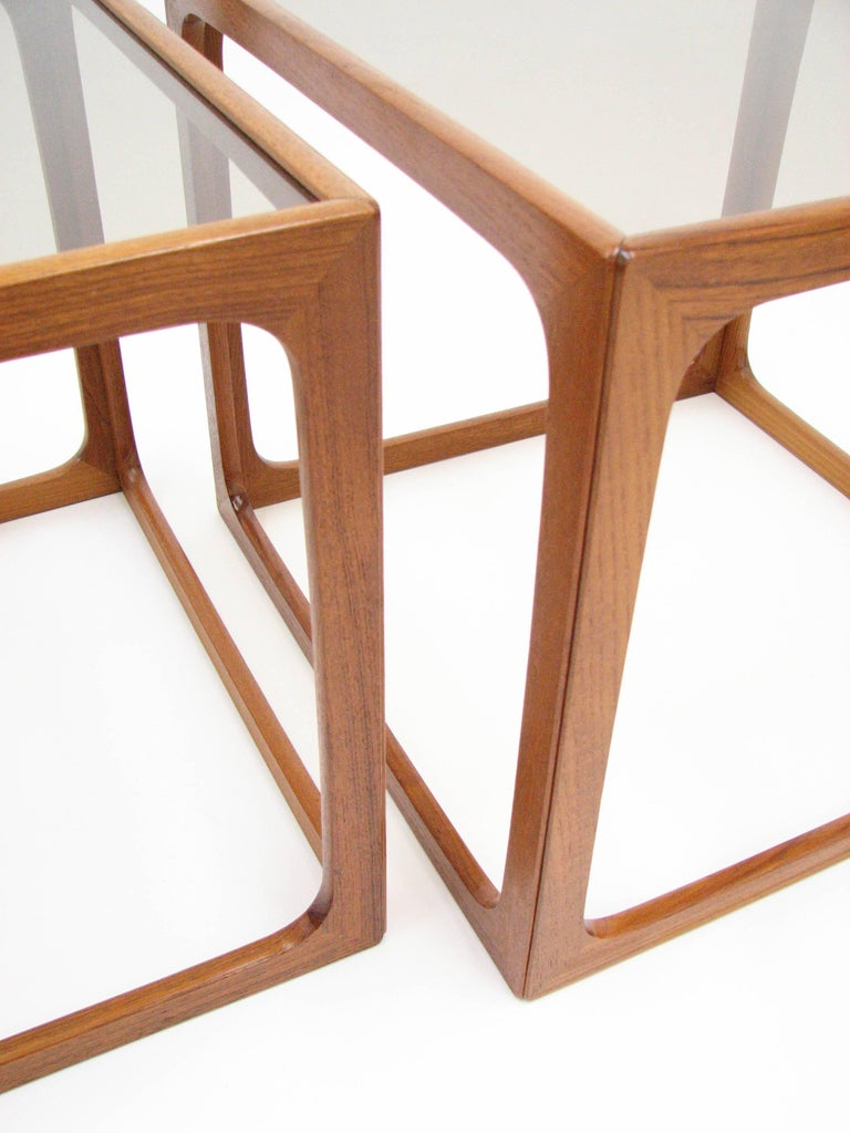Pair Of Teak And Smoked Glass Tables In The Manner Of Poul