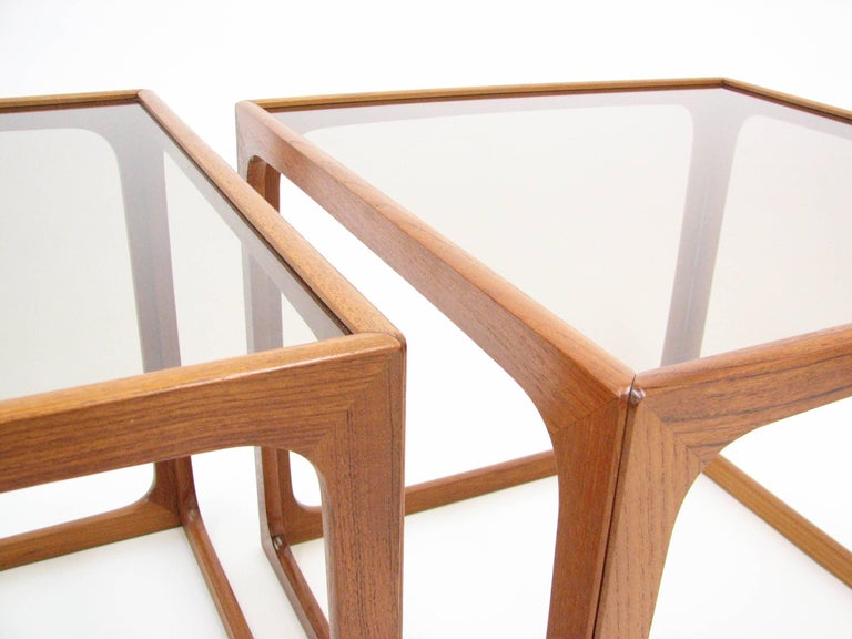 Mid-Century Modern Pair of Teak and Smoked Glass Tables in the Manner of Poul Hundevad For Sale