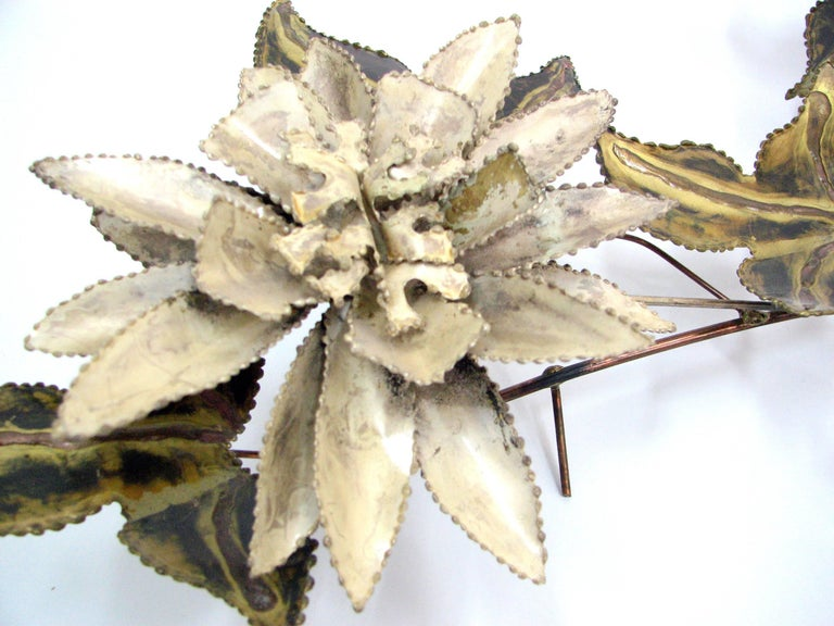 Brutalist Floral Wall Sculpture Attributed to C. Jere 6
