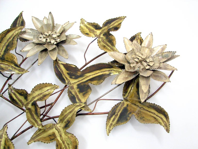 Brutalist Floral Wall Sculpture Attributed to C. Jere 2