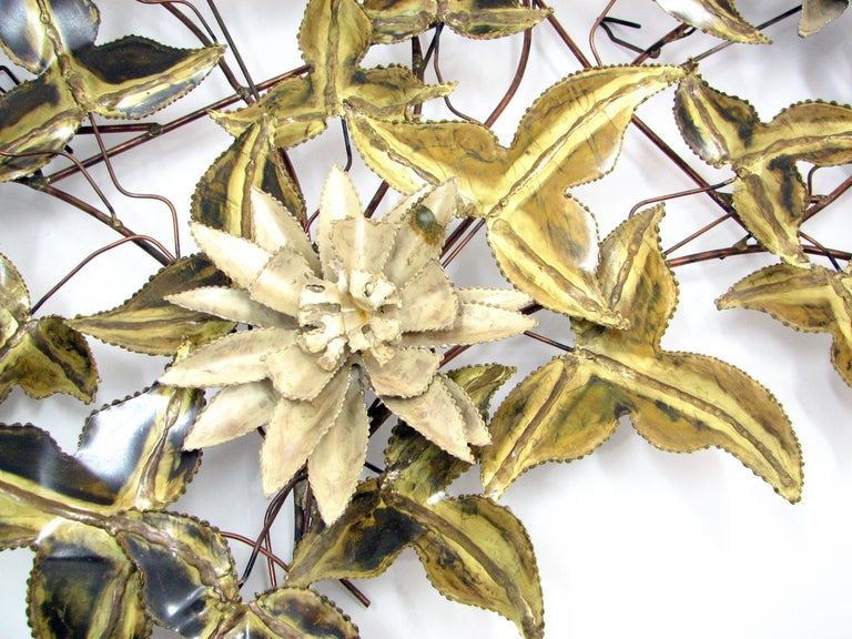 Brutalist Floral Wall Sculpture Attributed to C. Jere 3