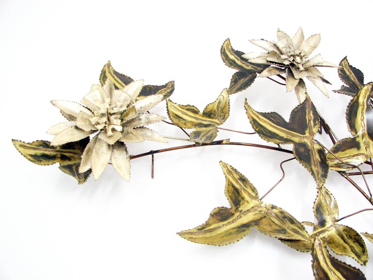 Brutalist Floral Wall Sculpture Attributed to C. Jere 4