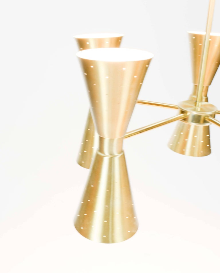 Up to Five 1960s Brass Starlite Chandeliers with Double Ended Fluted Cones 7