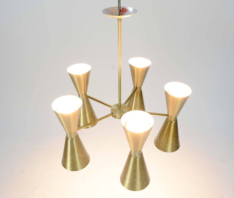 Up to Five 1960s Brass Starlite Chandeliers with Double Ended Fluted Cones 2