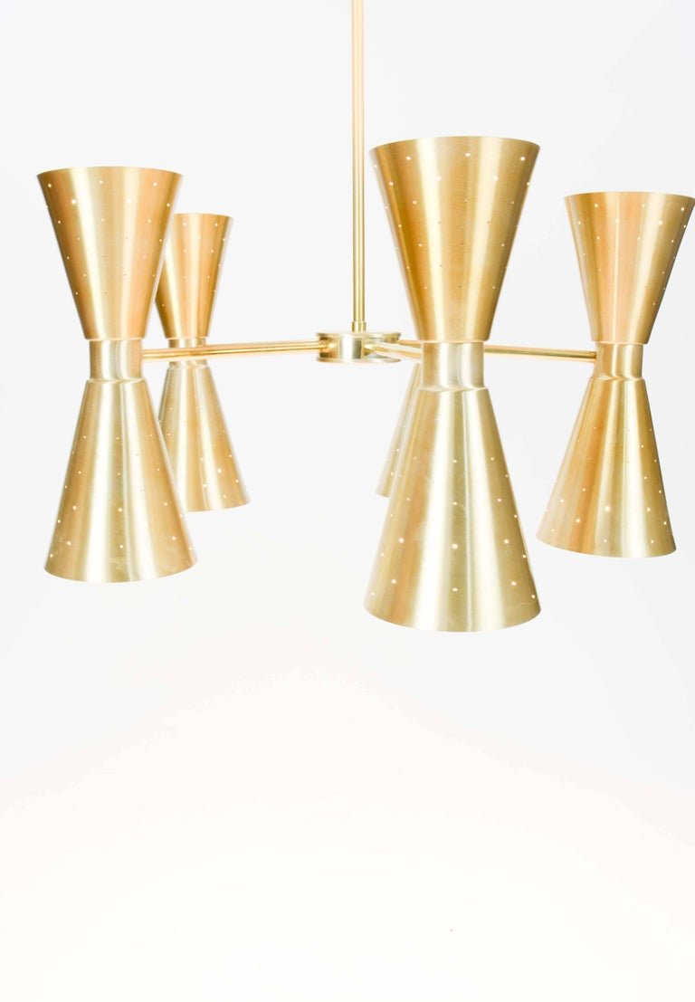 Up to Five 1960s Brass Starlite Chandeliers with Double Ended Fluted Cones 3