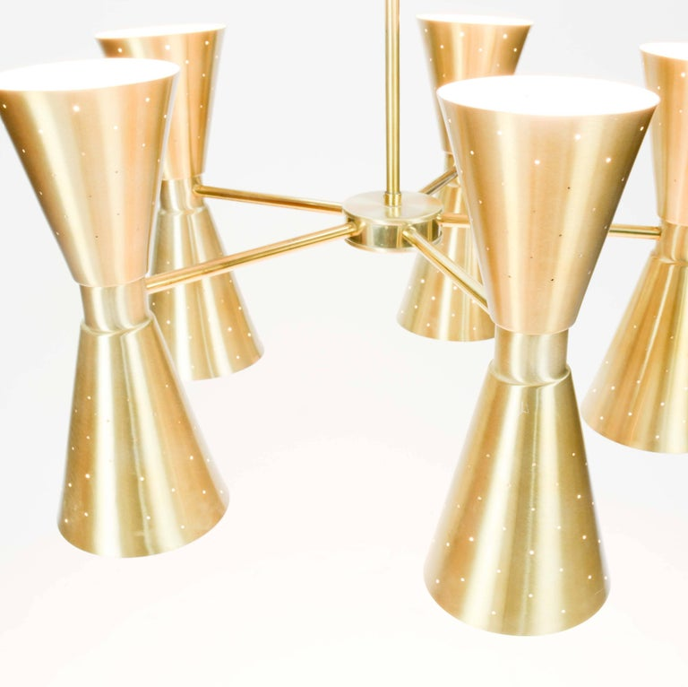 Up to Five 1960s Brass Starlite Chandeliers with Double Ended Fluted Cones 5