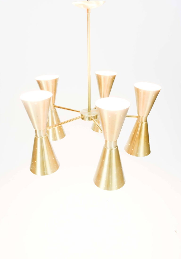 Up to Five 1960s Brass Starlite Chandeliers with Double Ended Fluted Cones 4