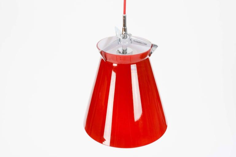 Scandinavian Modern Pair of Good Seed of Denmark Red Glass Pendants For Sale