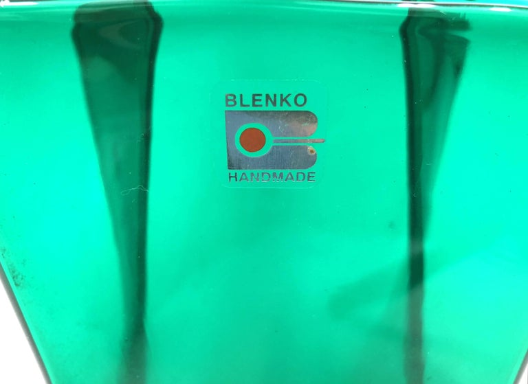 American Midcentury Green Folded Glass Vase by Don Shepherd for Blenko For Sale